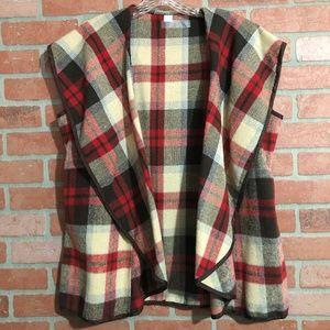 Women's Red/Brown/Cream Plaid Cowl Neck Vest XXL